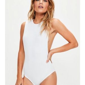 Missguided extreme drop armhole white bodysuit